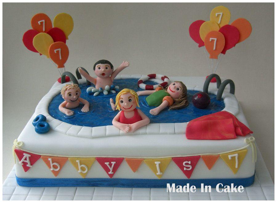 Swim Party Cakes Swimming Pool By Madeincake Cake Decorating Swim