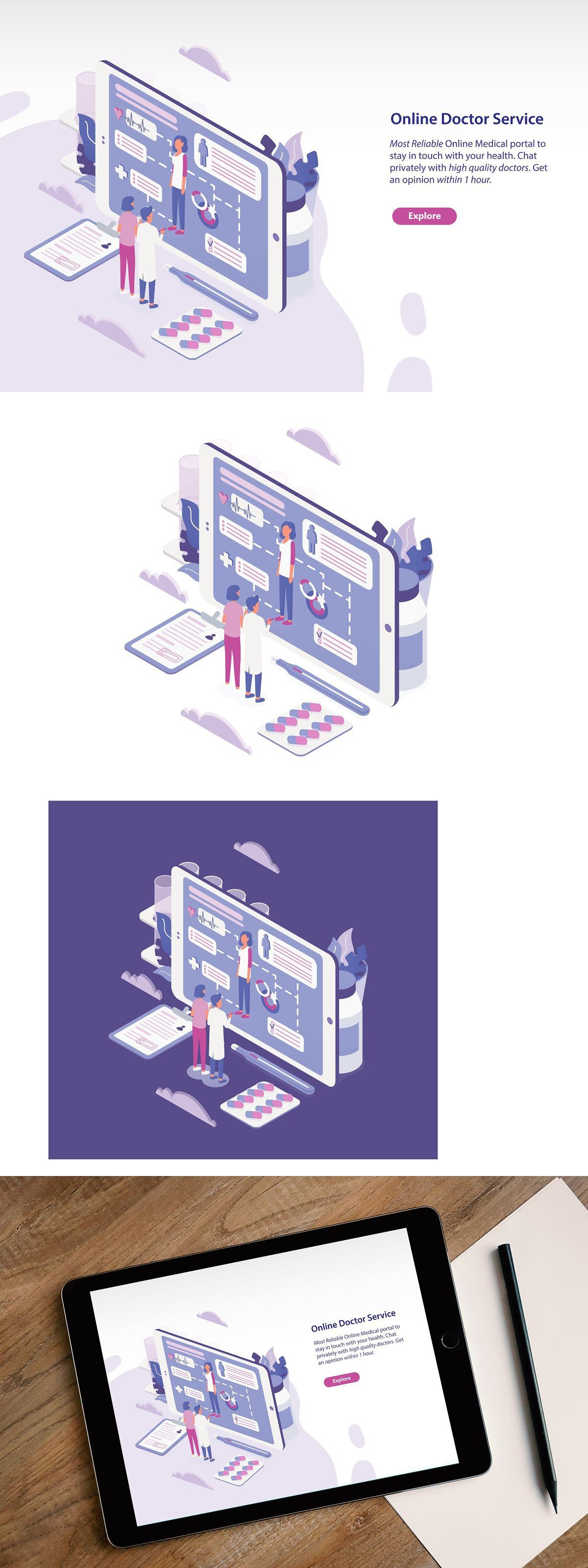 Online Doctor Concept Isometric Design Online Doctor Isometric Illustration