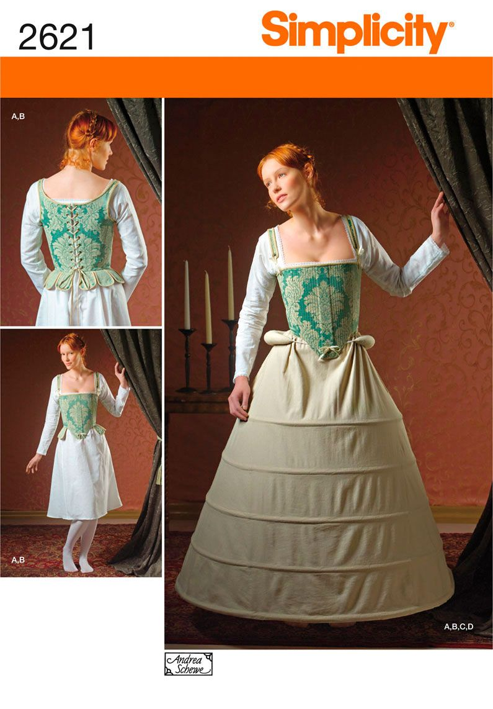 Simplicity 8162 Scottish Highlander Corset Slip Outlander Costume pattern Uncut