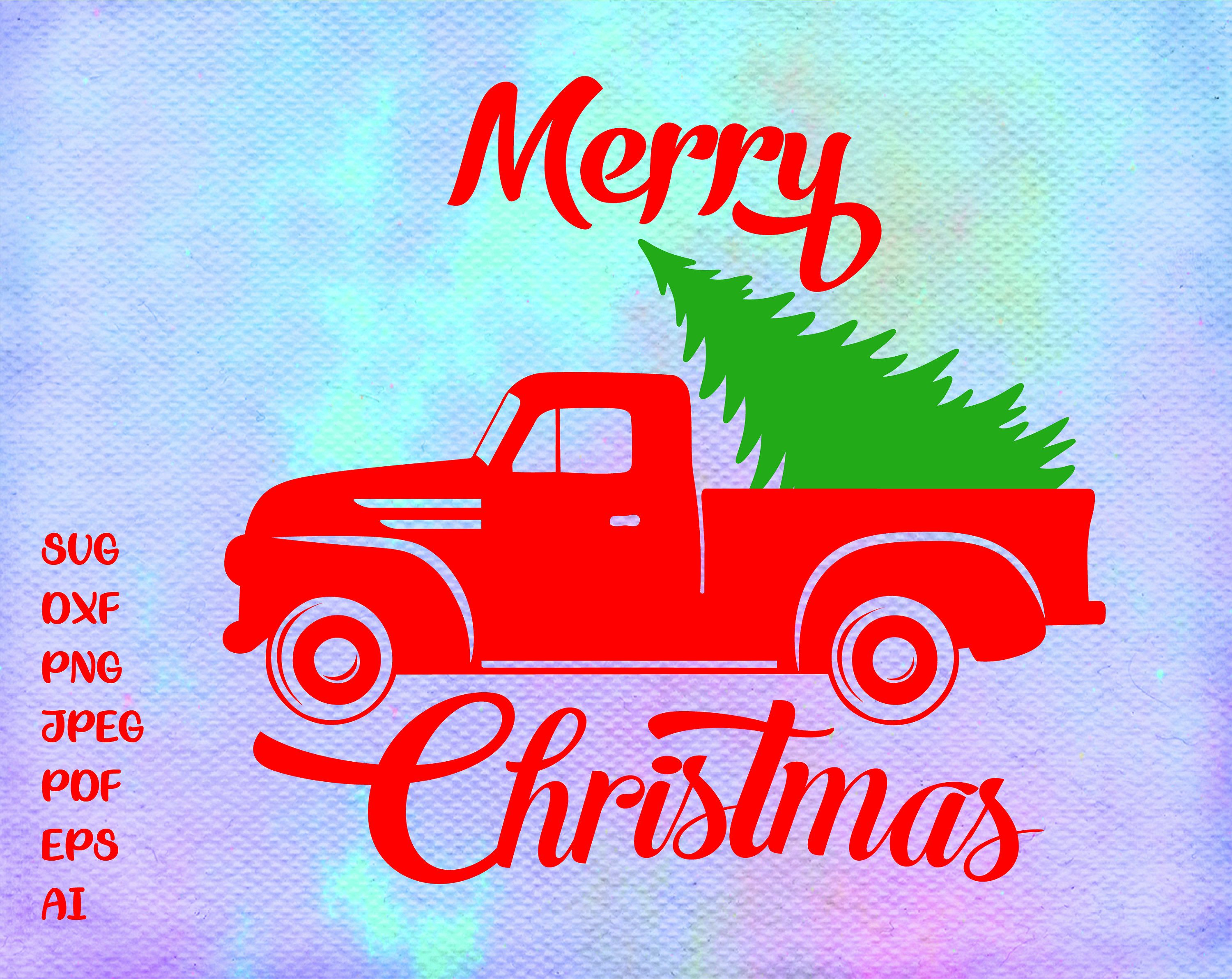 Christmas truck svg Christmas truck tree svg Merry