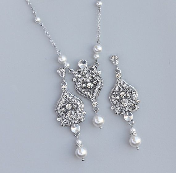 Pearl Bridal Set Vintage Wedding Jewelry Ivory Earrings Necklace Crystal And Pear