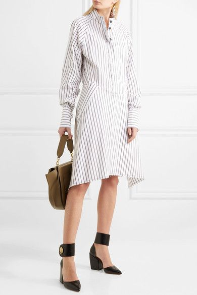 Distressed Striped Cotton Dress - Off-white J.W.Anderson Official For Sale Sale Outlet Locations Clearance Many Kinds Of Unisex RUsxFOsC6