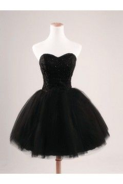 Ball Gown Sweetheart Short/Mini Lace Black Cocktail Dress with Sequin NPD1054