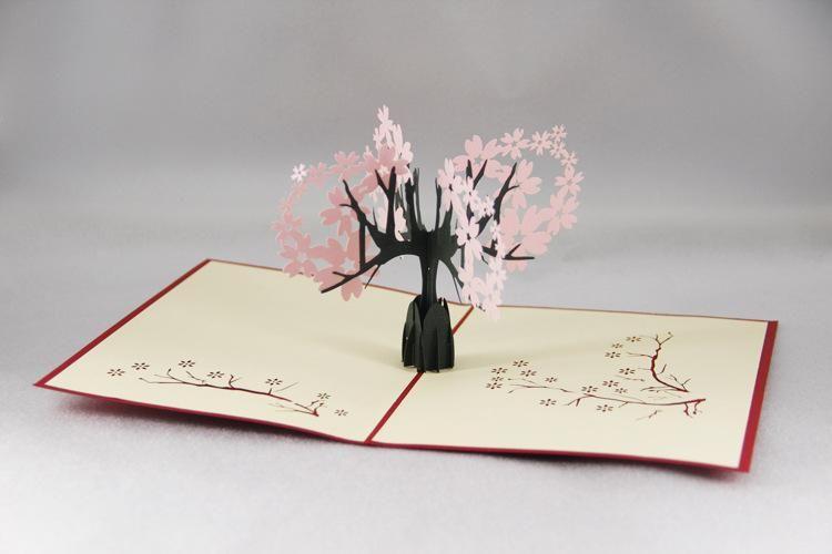 Cherry Blossoms 3D Card Gift Thanks Handmade Wedding Pop up  Invitation Blessing