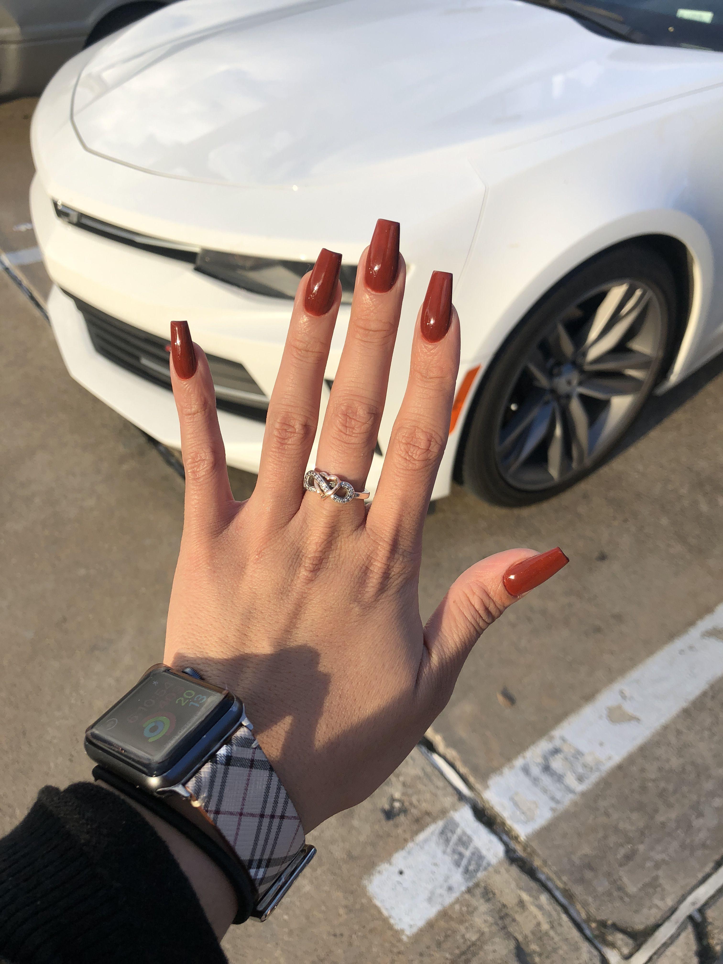 Burnt Orange Acrylic Nails Orange Acrylic Nails Acrylic Nails Orange Nails