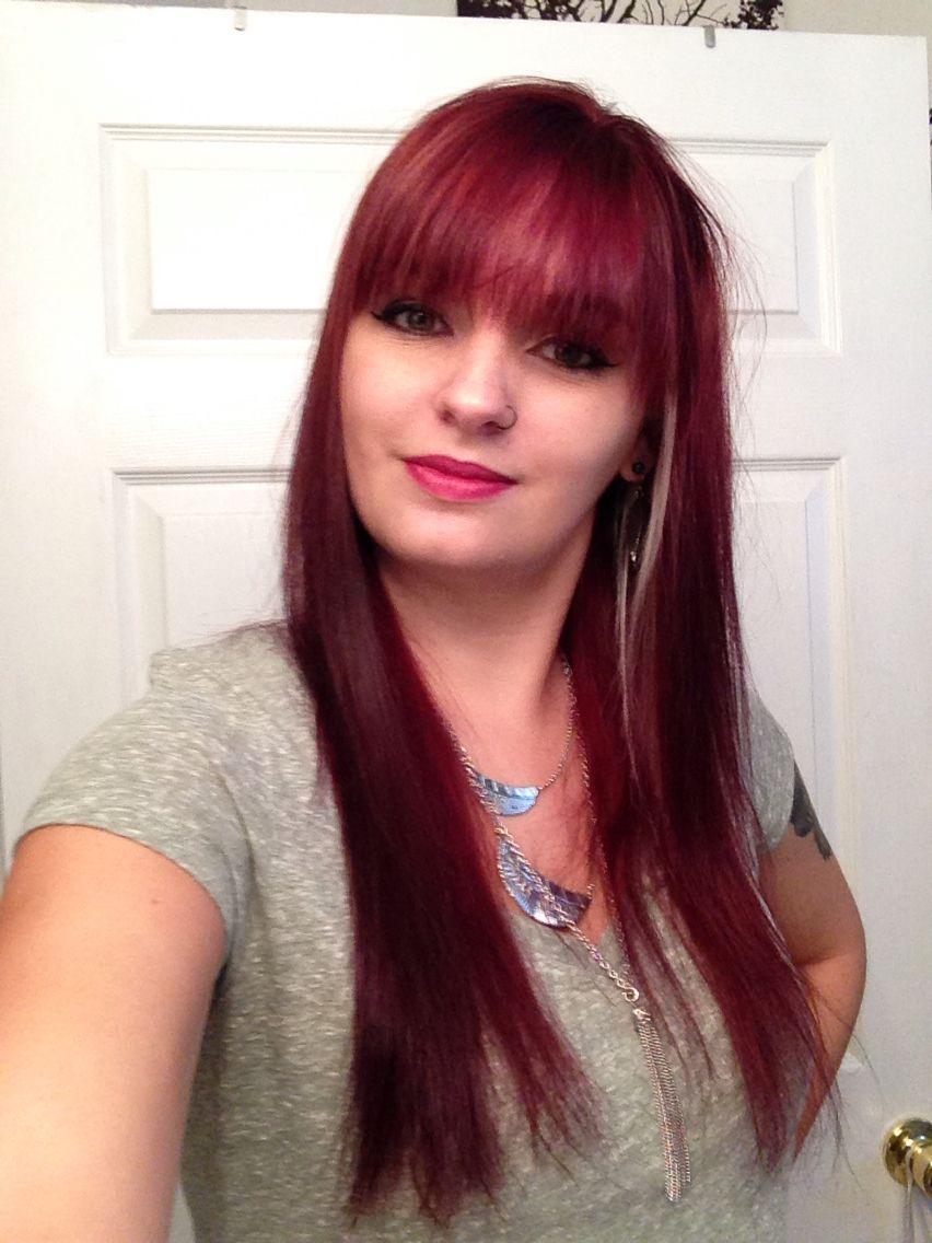 Chroma Garnet Red Hair With Fringe Bangs Up Top Glamor Pinterest