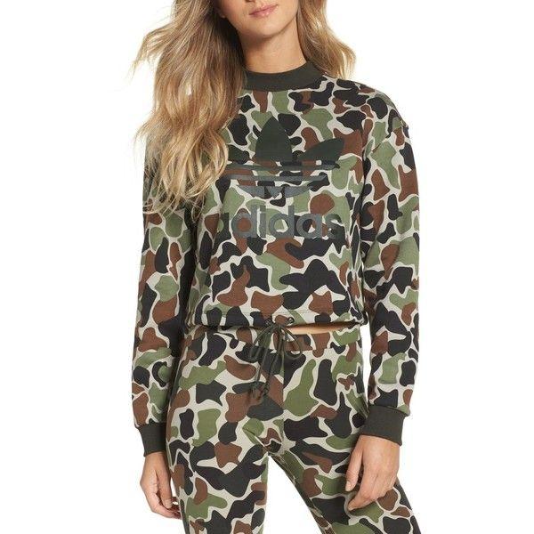 Women s Adidas Camo Print Drawstring Crop Sweatshirt (£52) ❤ liked on  Polyvore featuring tops c119ba8472