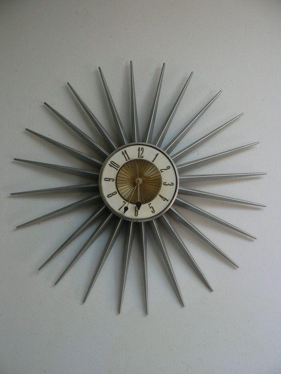 Mid Century Elgin Starburst Wall Clock Vintage 1950s 60s