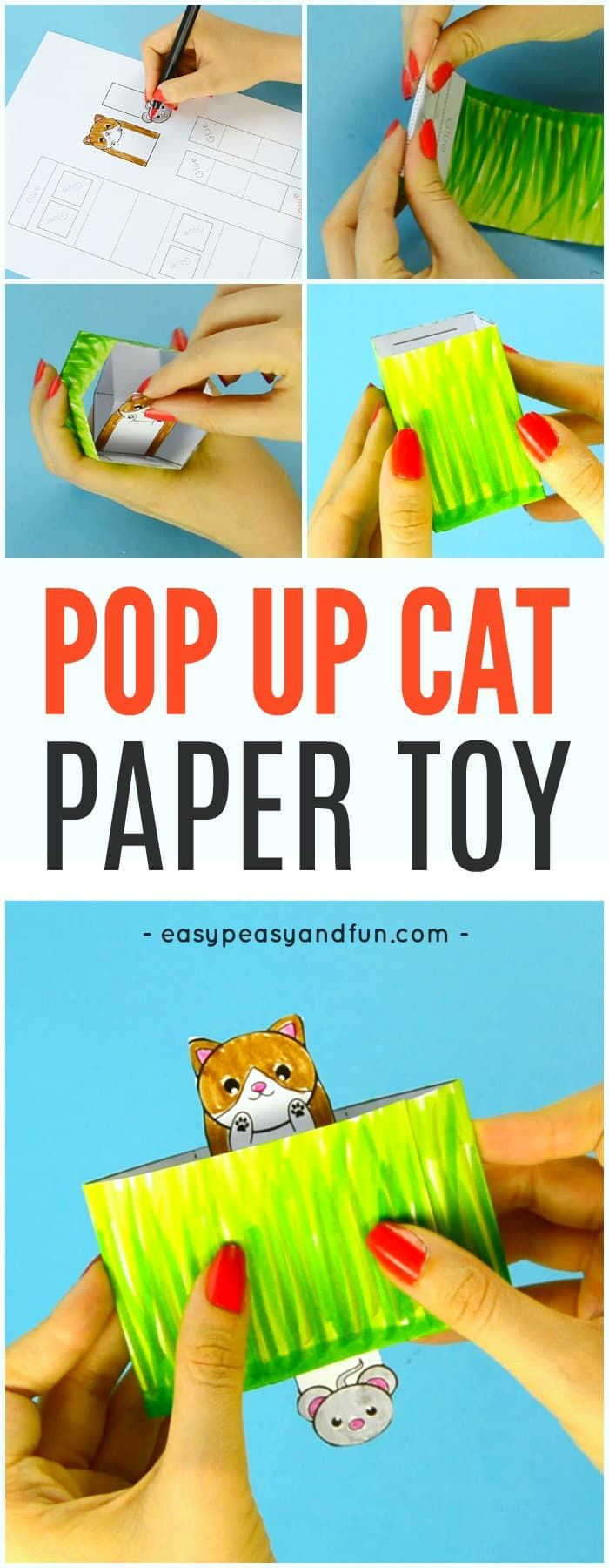 Cat Pop Up Box Paper Toy | Juguetes de papel, Juguetes y Para niños
