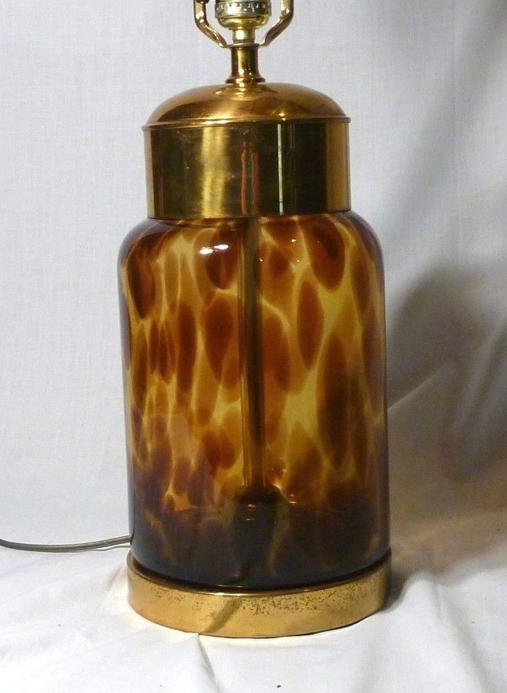 Vintage Mid Century Faux Tortoise Shell Glass Table Lamp Needs TLC