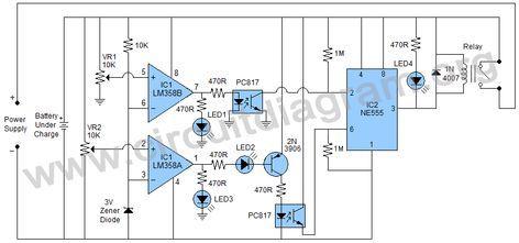 smart universal automatic battery charger circuit diagram a rh pinterest com automatic battery charging circuit diagram automatic battery charger circuit diagram