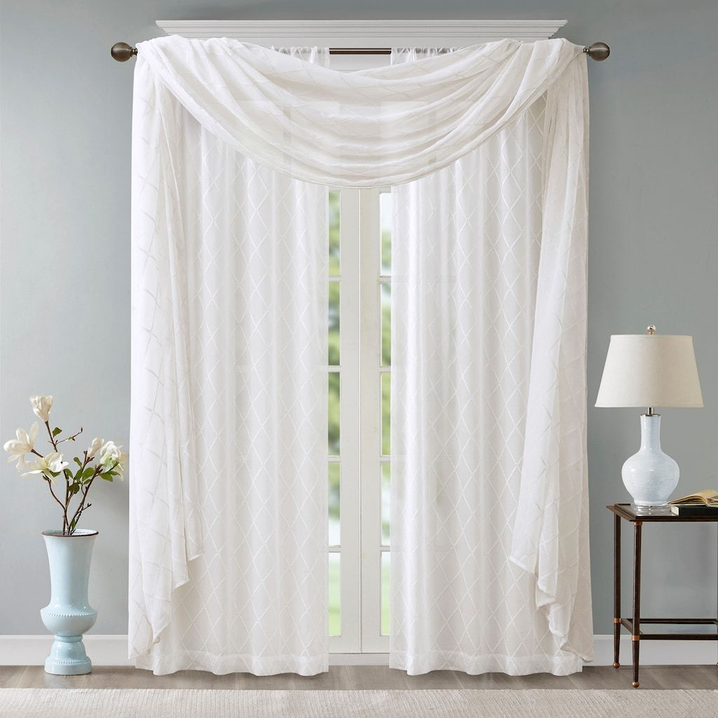 Madison Park Iris Diamond Sheer Embroidered Scarf Window Valance Window Scarf White Window Scarf Master Bedroom Curtains #white #valances #for #living #room