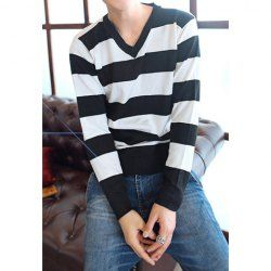 $8.32 Fashion V-Neck Long Sleeves Color Block Broad Stripe Design Cotton Blend Knitwear For Men
