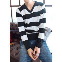 $8.32 Fashion V-Neck Long Sleeves Color Block Broad Stripe Design Cotton Blend Knitwear For Men