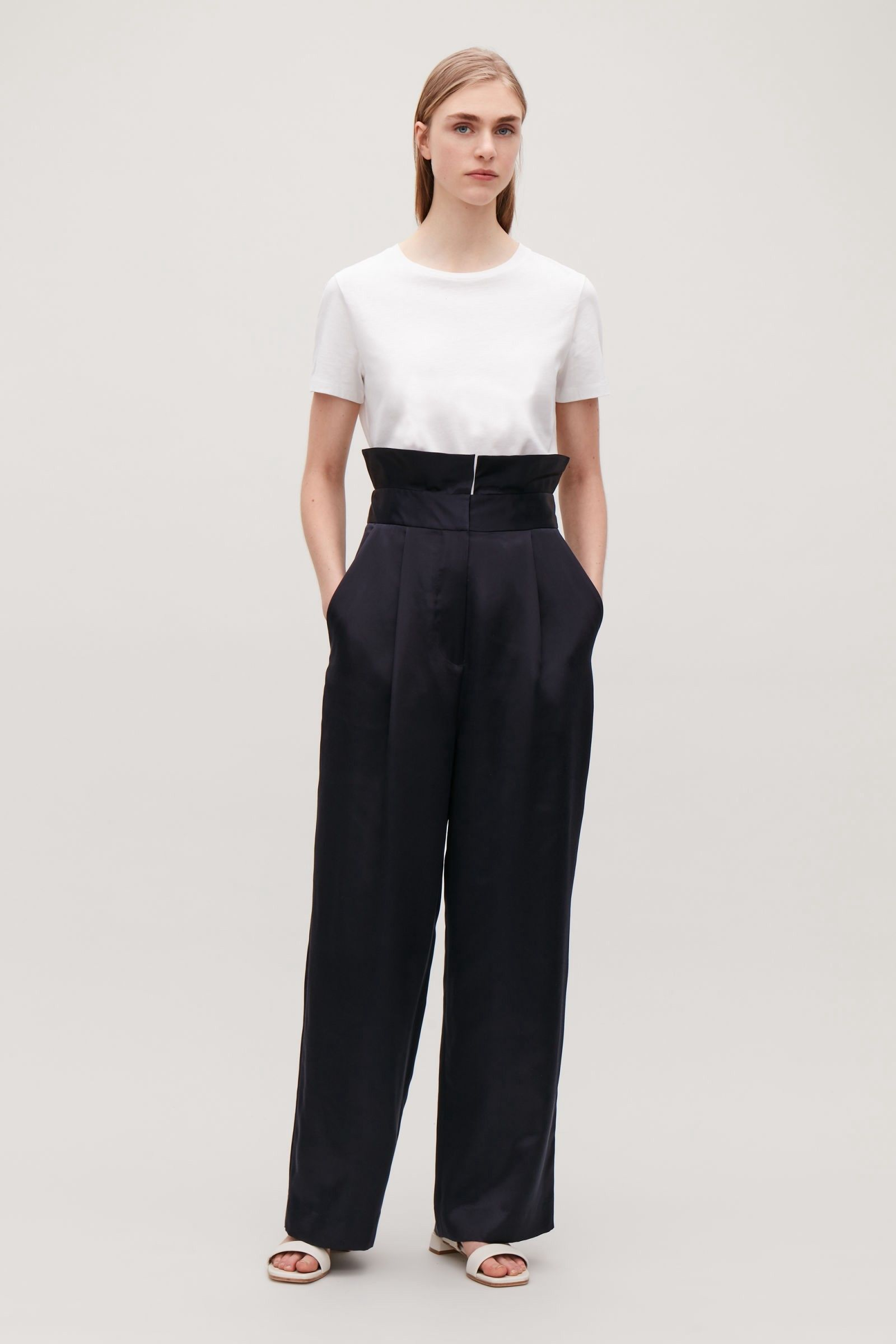 a8f89d2580 Cos Silk Trousers With Frill Waist - Navy 2 | Products | Trousers ...