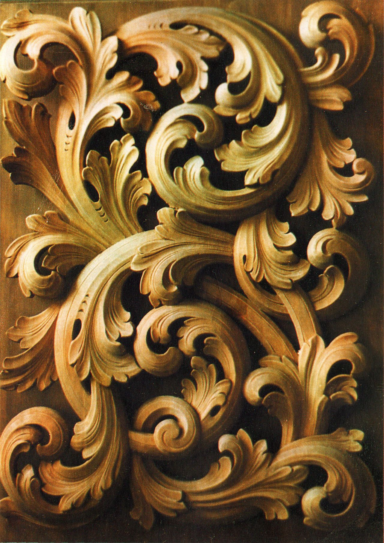 Love the subtle greens and golds akantus wood carvings