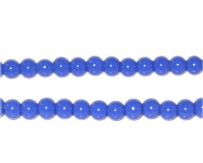 4mm Blue Opaque Pressed Glass Bead -