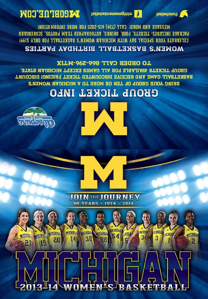 Michigan Women S Basketball Schedule Card 2013 2014 Old