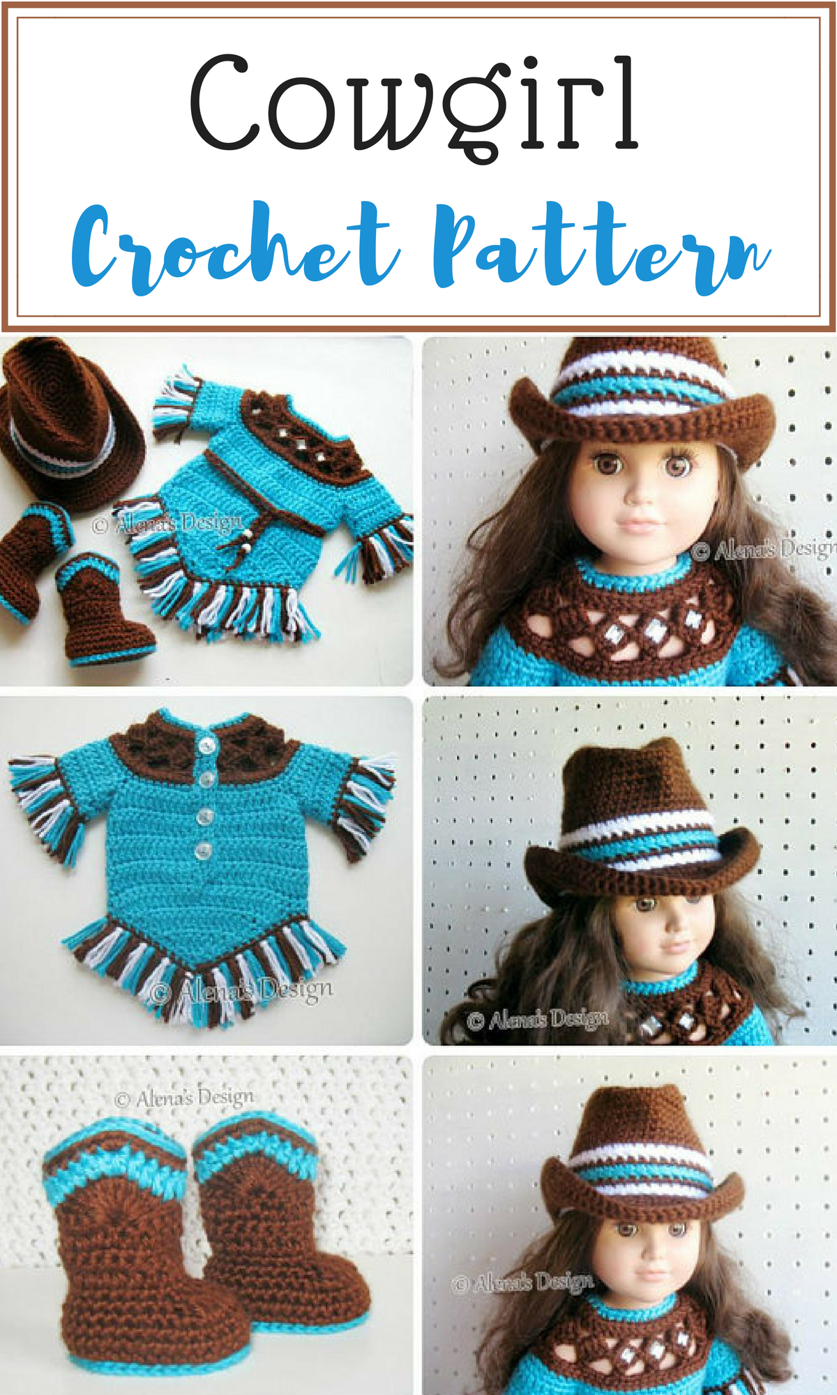 Crochet Pattern 3 PC Set for 18 inch Doll Western Doll Outfit ...