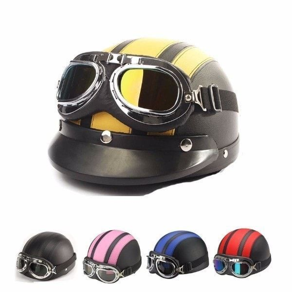 ECE Motorcycle Half Open Face Leather Helmet With Sun Visor Goggles
