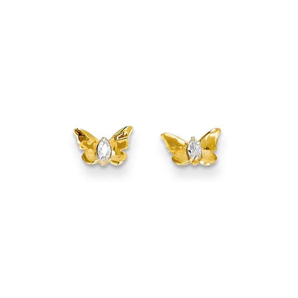 Madi K 14k White Gold Polished Heart w// Butterfly Post Stud Earrings