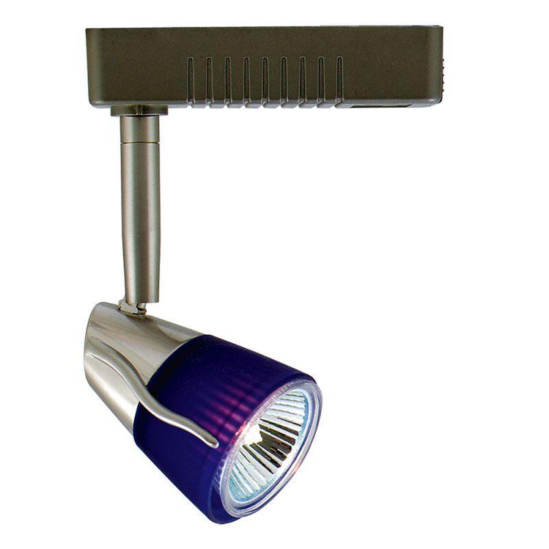Jesco Lighting HLV14750 1 Light Halogen Mini Deco Track Head Blue / Satin Chrome Indoor Lighting Track Lighting Heads