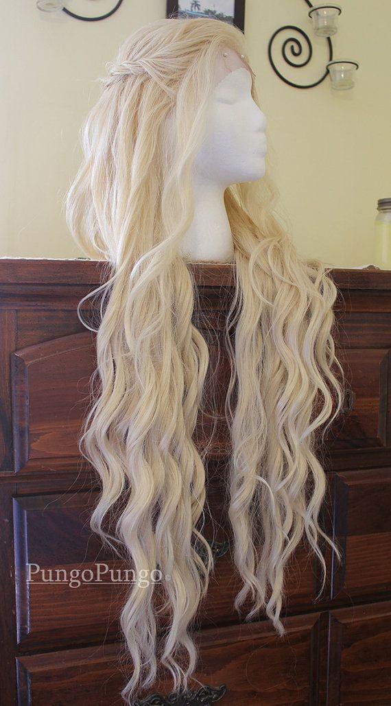 Daenerys Targaryen Wig - Season 4 Styled Platinum Blonde Khaleesi Lace Front Wig - Game of Thrones - Custom Costume Cosplay Pale White Blond