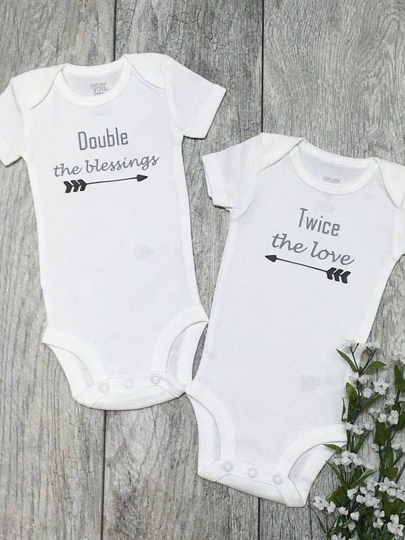 Double The Blessings Twice Love Twins Twin Outfits Onesies Baby