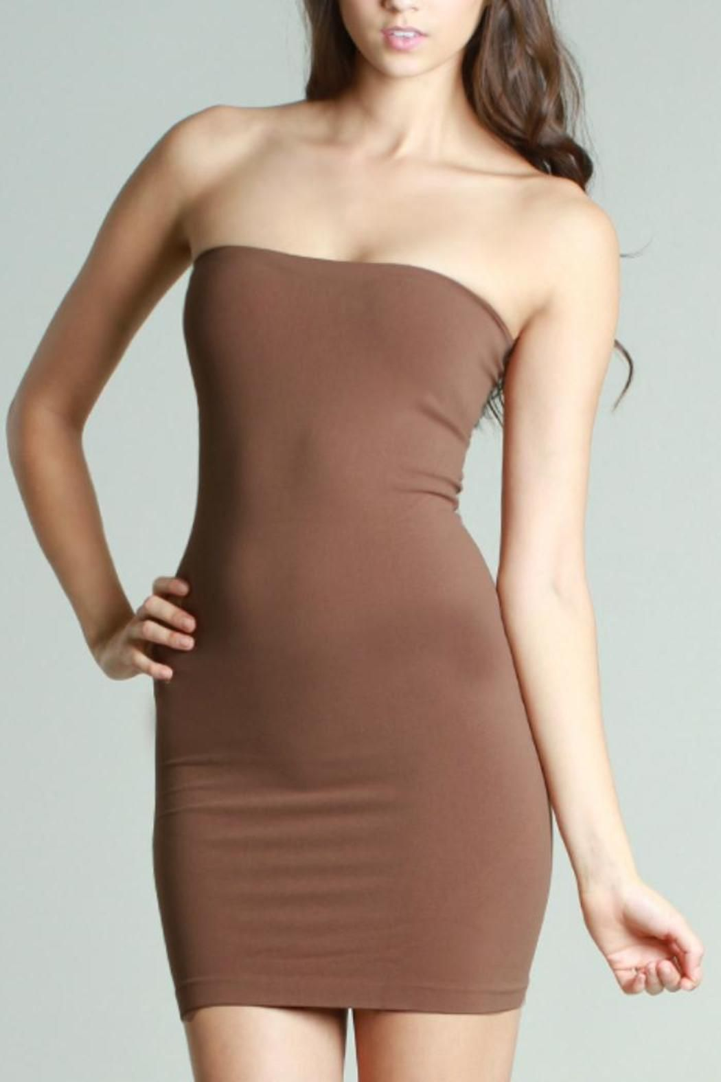 5d14e47a3e395 Seamless stretch basic jersey strapless slip dress. Add a print sarong or  scarf for a