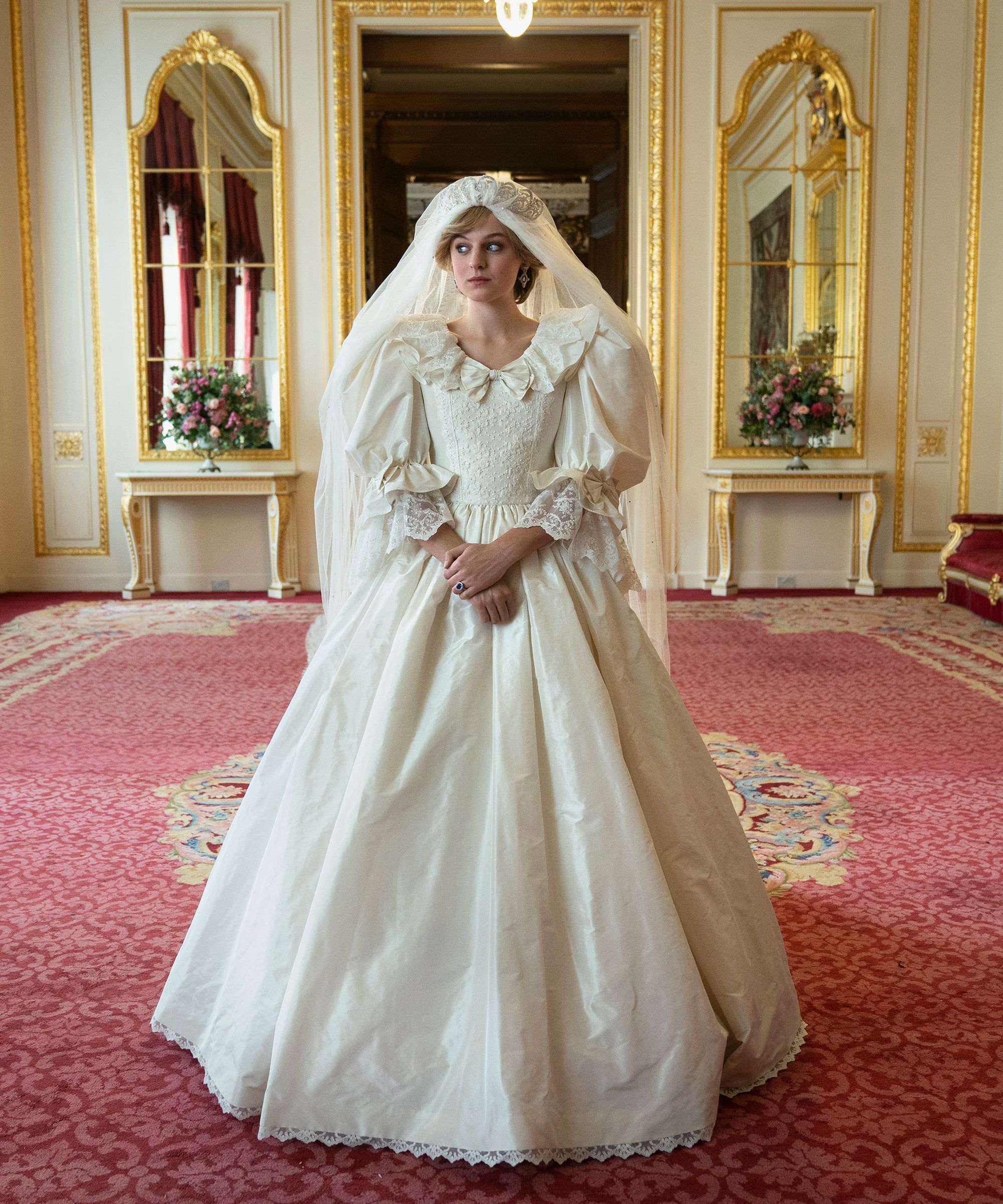 16 Looks From The Crown Inspired By Princess Diana S Best Fashion Moments In 2021 Wedding Dresses Princess Diana Wedding Dress Diana Wedding Dress [ 2400 x 2000 Pixel ]