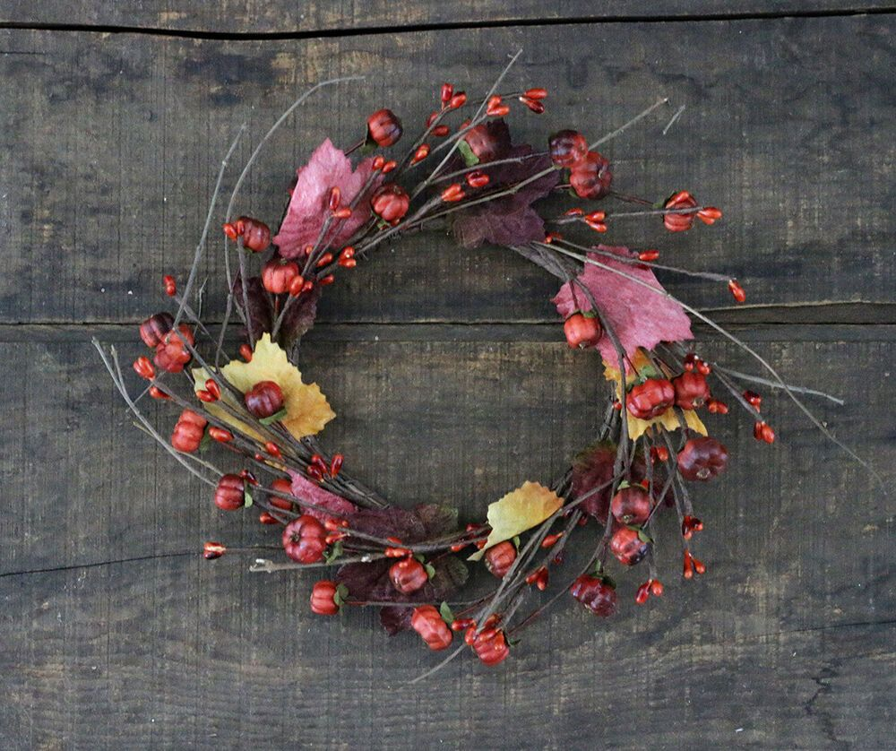 """New Primitive Country Fall Mini Pumpkin Candle Ring Wreath 4/"""""""