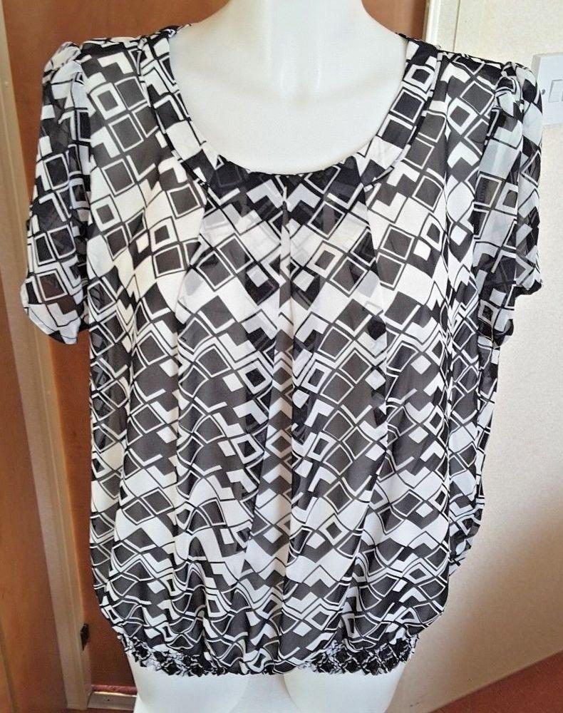 a1ec6eca Savoir Ladies Short Sleeve Black & White Blouse Size 18 Smart Casual Work  Wear #Savoir