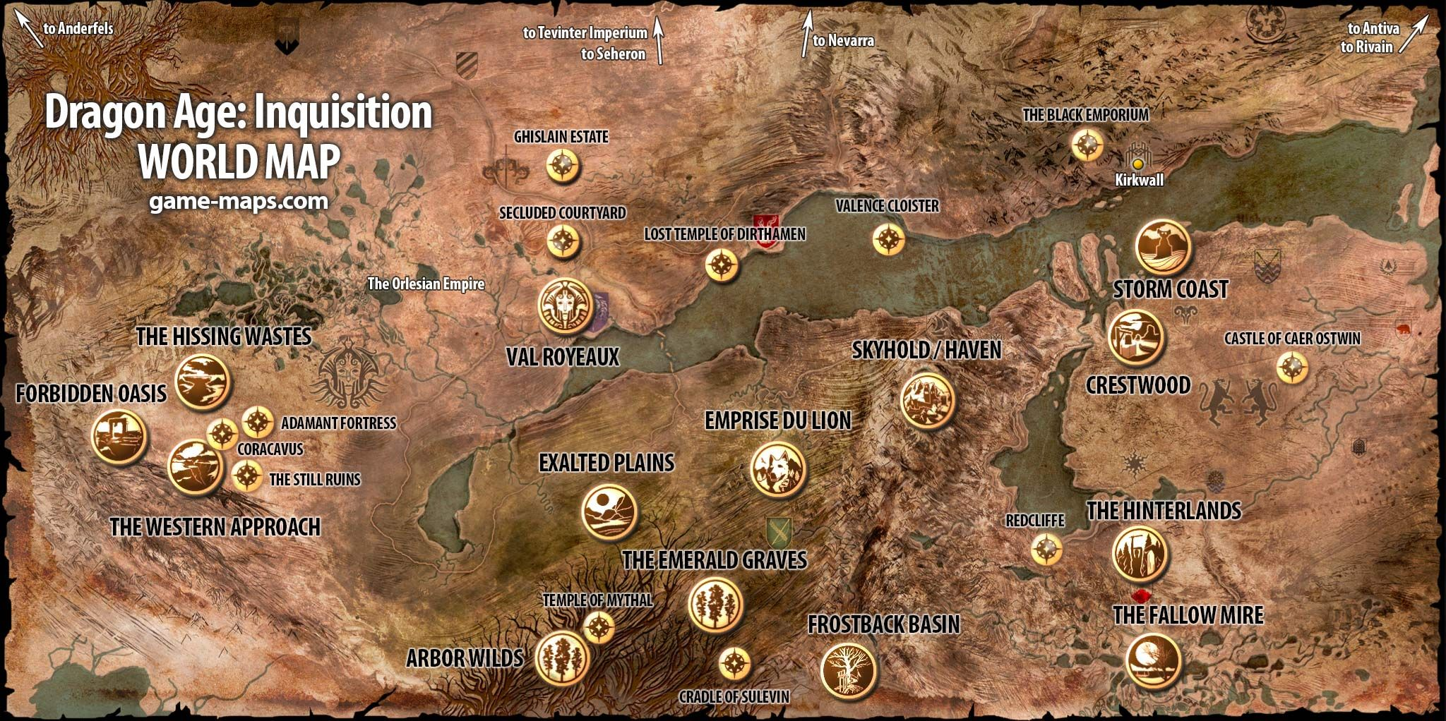 Dragon Age Inquisition World Map Game Maps Com Throughout ...