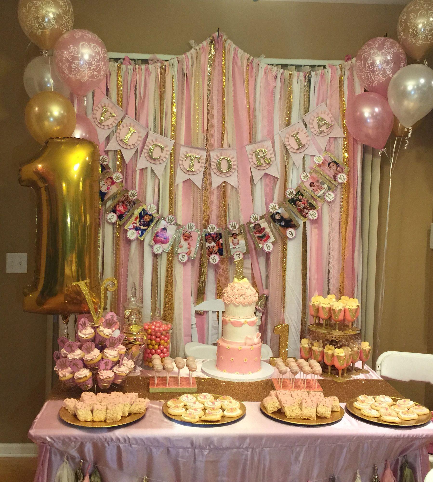 Pink Gold 1st Birthday Birthday Parties Birthday Party Decorations 1st Birthdays