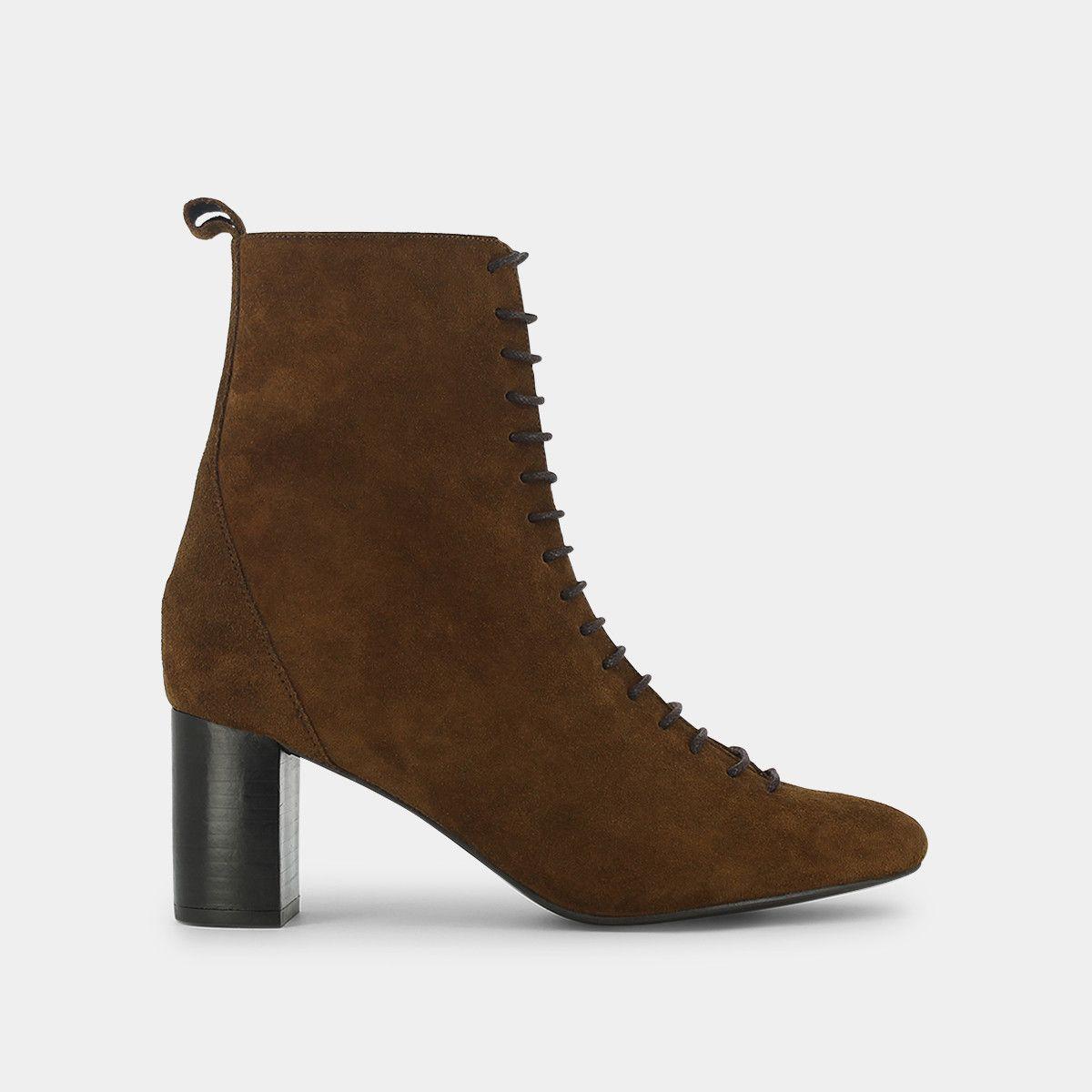 e3e9fafd6fd Heeled combat boots in brown suede - Jonak cognac