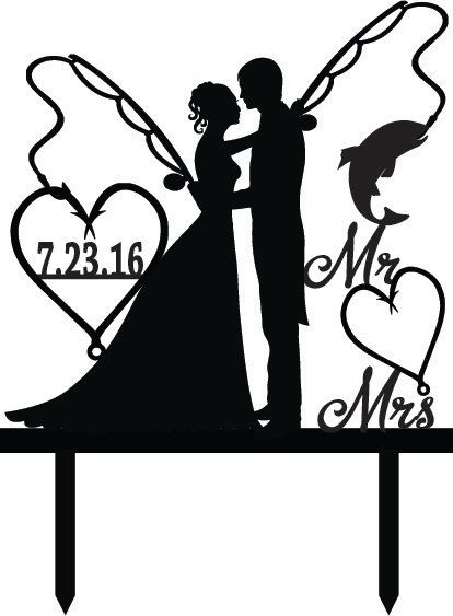Mr. Mrs. with Bride and Groom - Fishing Poles With Date or ...