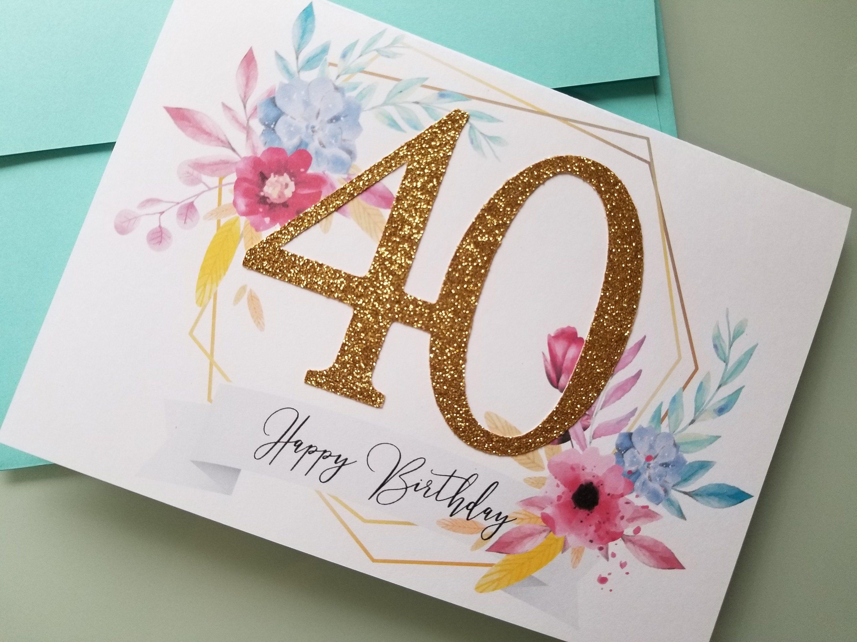 Glitter Birthday Card 40th Birthday 40th Birthday For Her 40th Birthday Cards For Her Gold Rose Birthday Cards For Her 40th Birthday Cards Birthday Cards