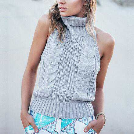 Sleeveless cable knit sweater for women plain gray turtleneck ...
