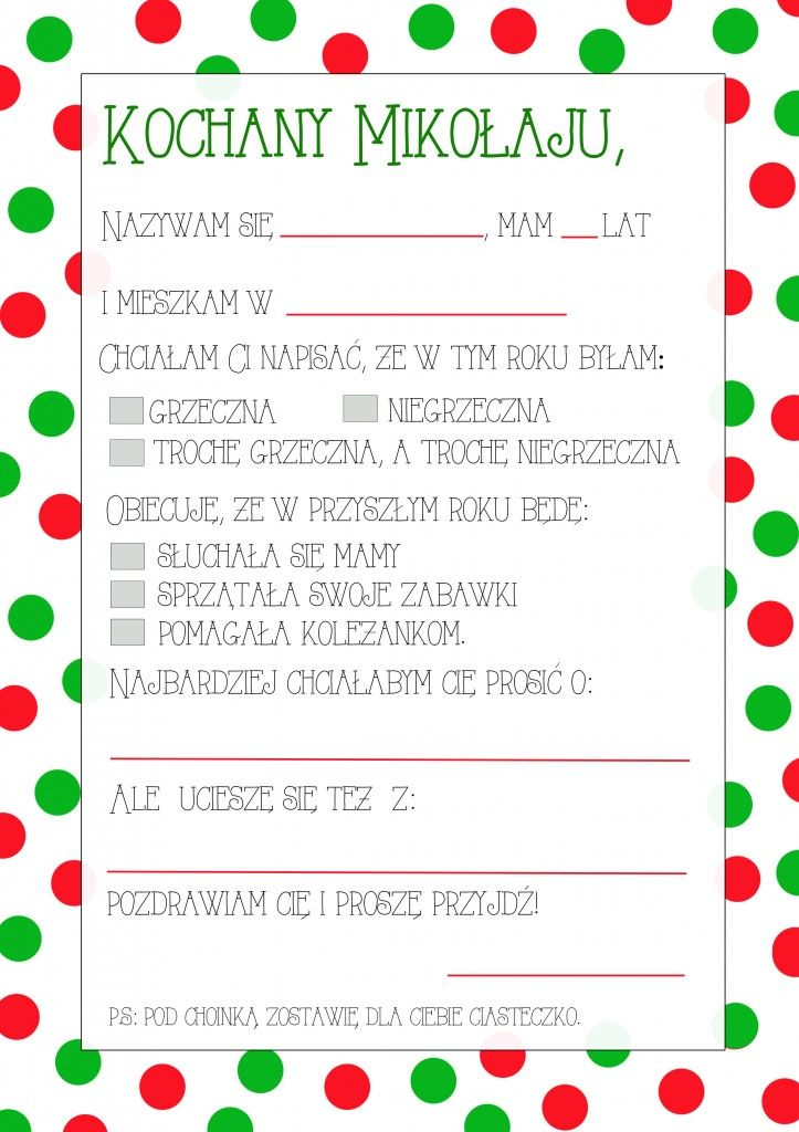 List Do Mikolaja Darmowy Szablon Do Druku Partymika Christmas Crafts For Kids Christmas Color By Number Calendar Organization