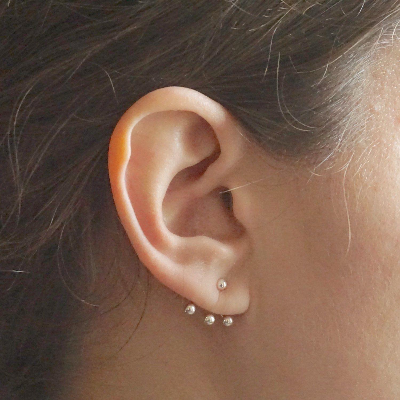 925 Sterling Silver Round Ball Dot Fan 2 in 1 Stud and Jacket Ear Cuff Earrings