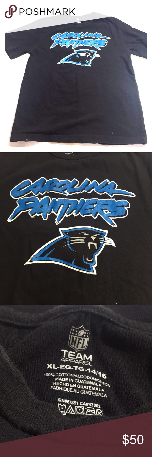 NFL Carolina panthers t-shirt size boys XL 14 16 Brand- NFL Size- Boys 14 16  XL Condition- Good Details- has bleach stains on front (view pics) Please  ... 1224012f8