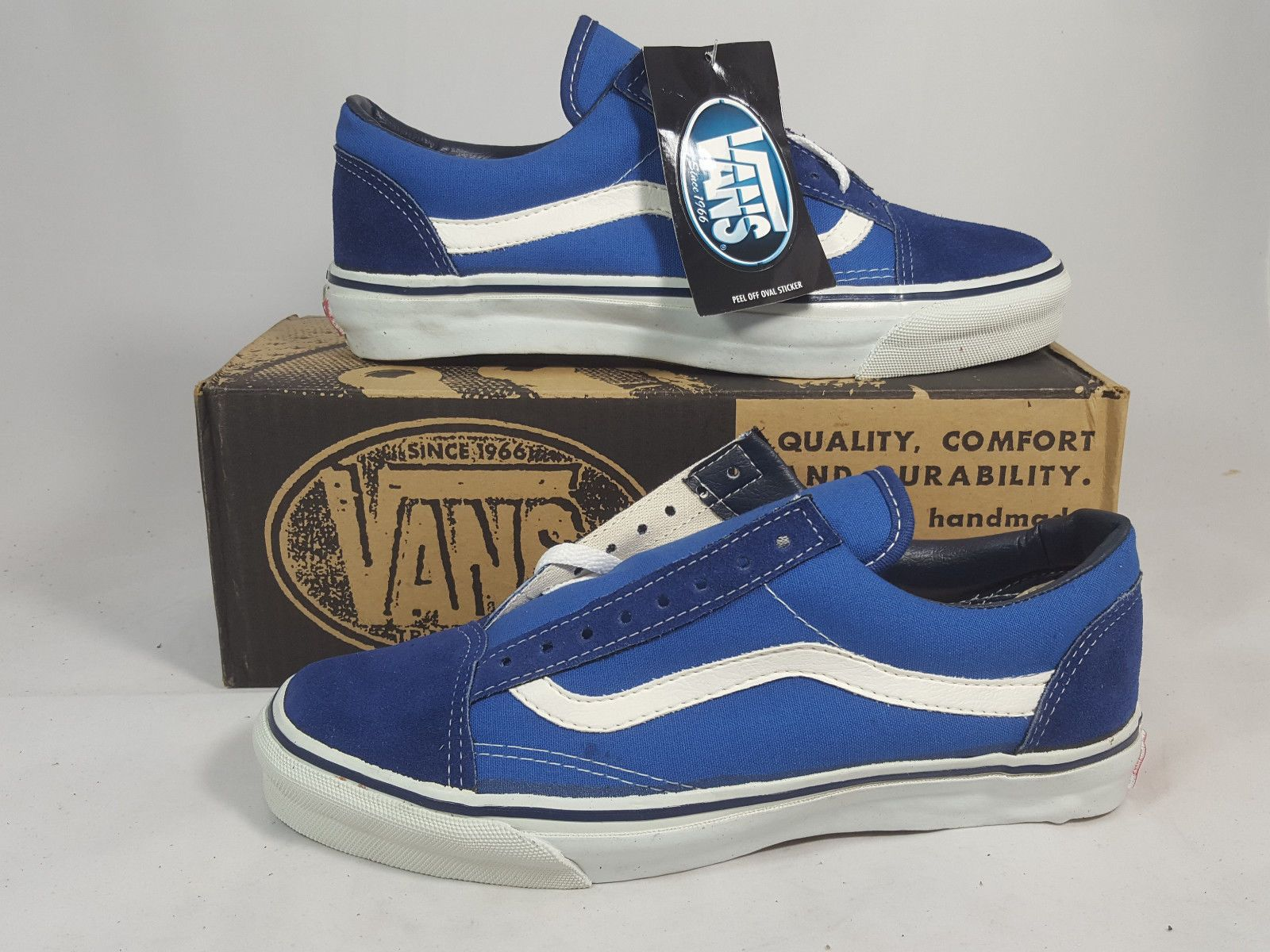 76ccc11ec2 Details about Vintage Vans OLD SKOOL shoes STEEL BLUE SK8 HI made in ...