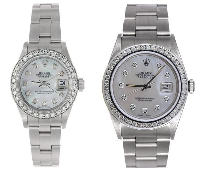 Cool Rolex Datejust His u Hers Both Mother of Pearl Diamond Dial u Bezel WOW