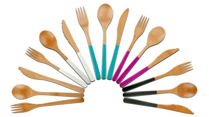 Bamboo Wood Cutlery / Core Bamboo #kitchen #cutlery {love these pops of color}