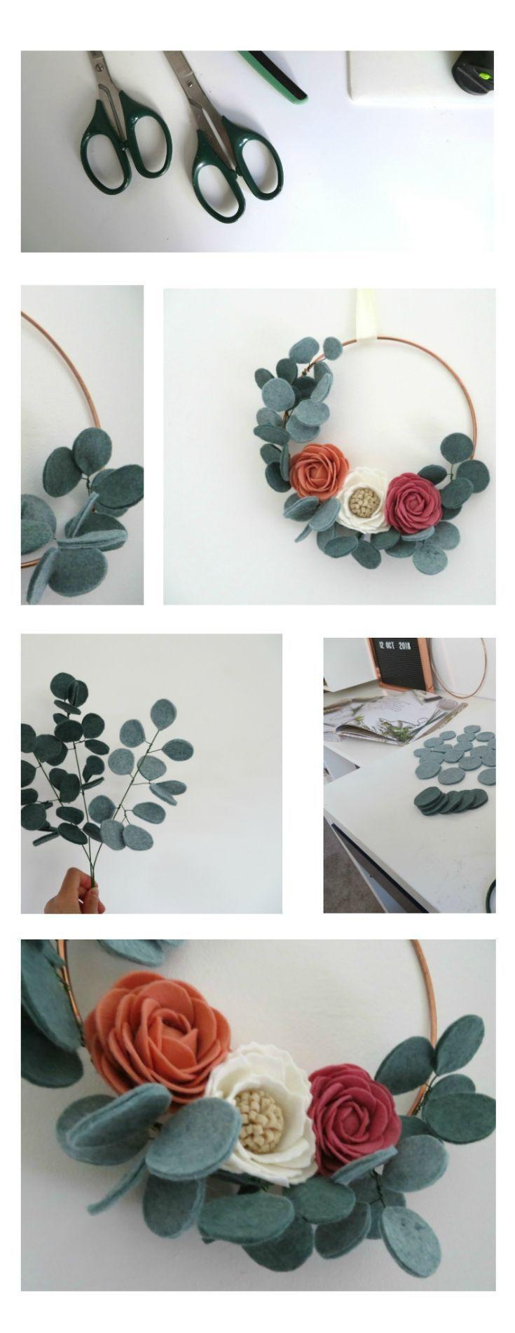 Photo of Ghirlanda floreale di eucalipto -Corona in feltro moderna -Arte da parete floreale Boho -Euca…
