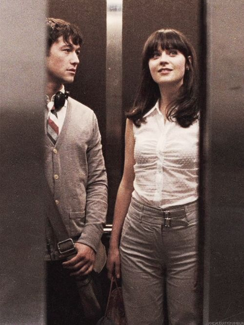 936df1f2f Joseph Gordon Levitt and Zooey Deschanel in the elevator