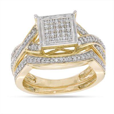 1/4 CT. T.W. Diamond Square Cluster Bridal Set in 10K Gold - Size 7 - PAGODA.COM