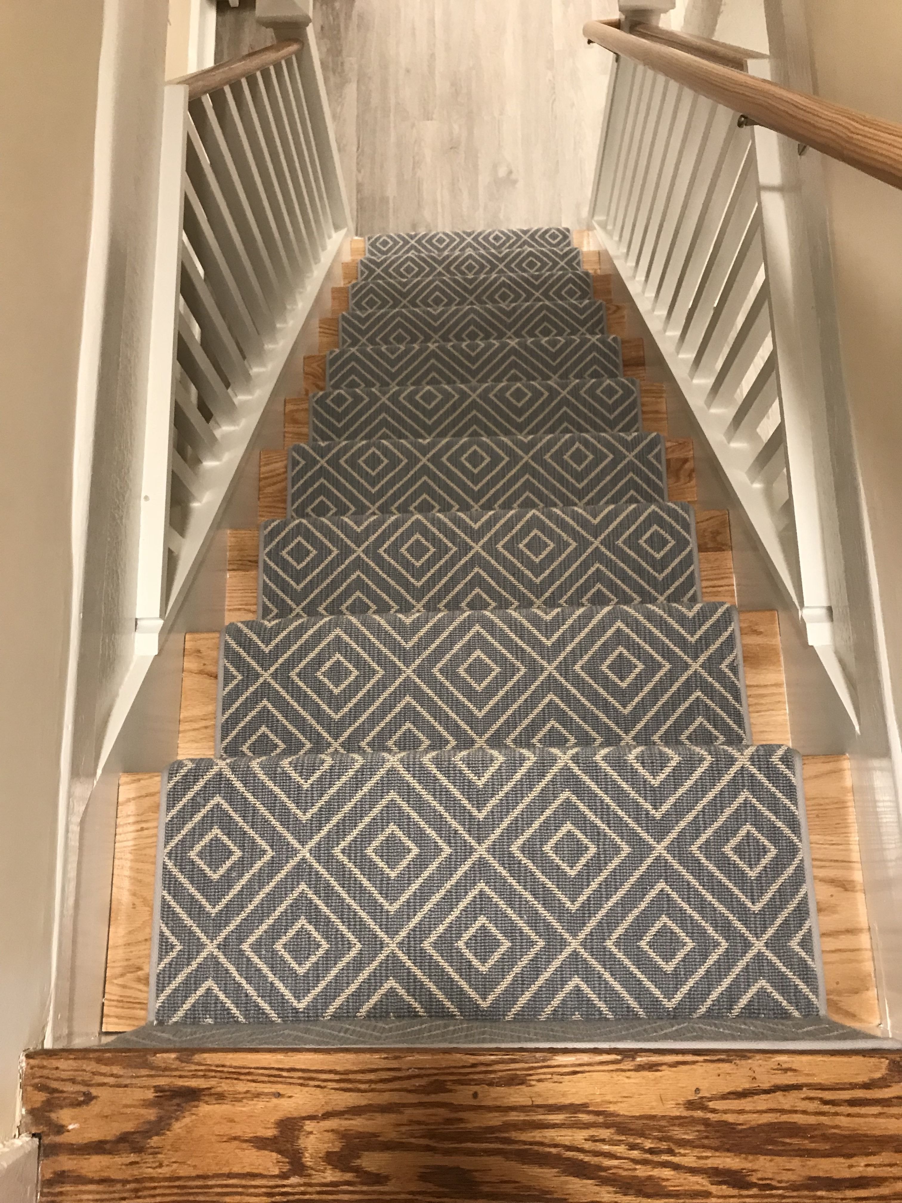 Pin By The Carpet Workroom On Geometric Stair Runners Rugs Geometric Stair Runner Stair Rugs Stair Runner
