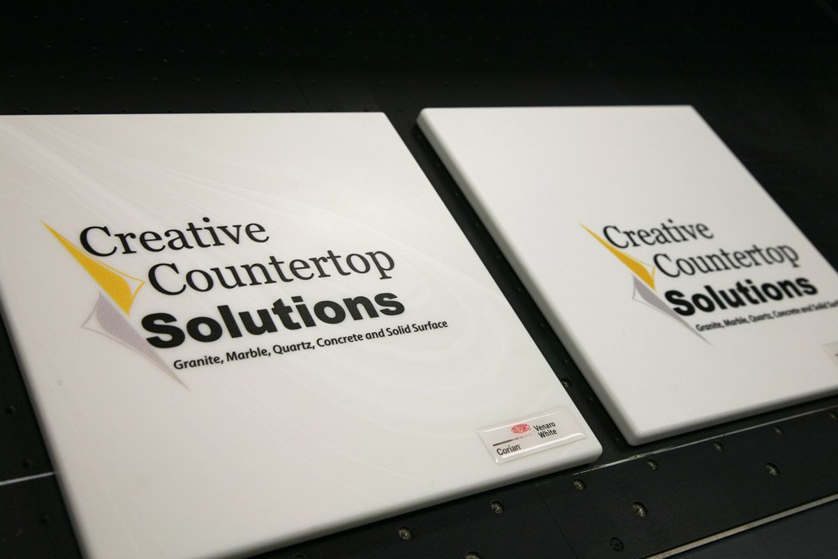 Creative Countertop Solutions Logo Printed Directly Onto Sample