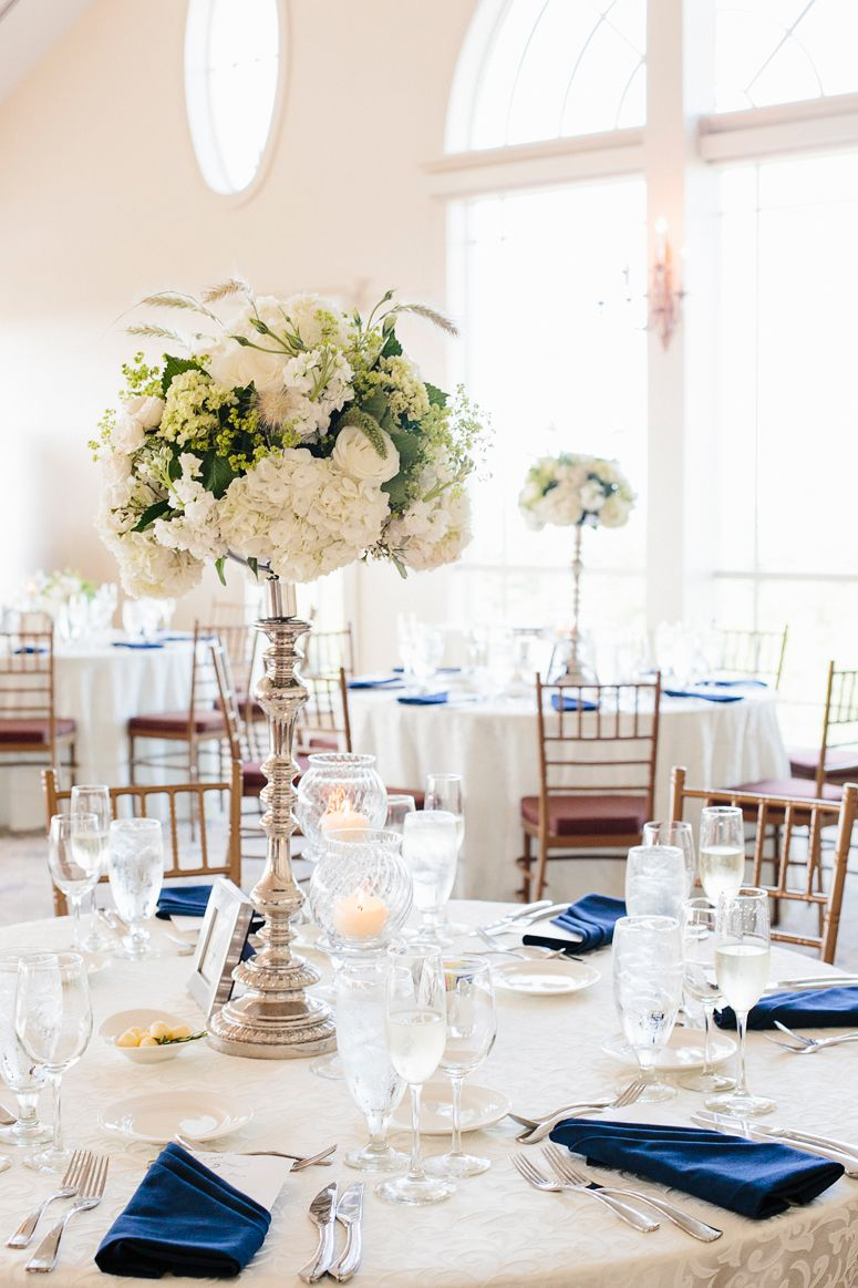 The navy blue napkins are an awesome pair with the #silver and ...